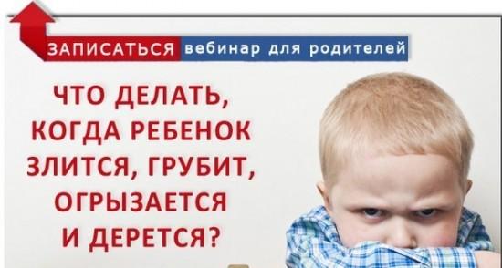 Что делать когда реб нок злится грубит обзывается и дер тся  Бесплатный вебинар для родителей
