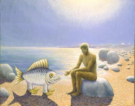 Картинки человек на рыбе